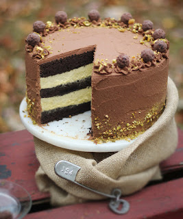 Black Truffle Pistachio Chocolate Cake