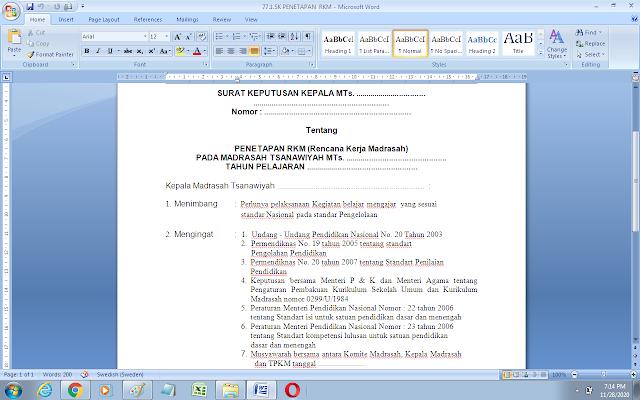 Contoh SK penetapan rencana kerja madrasah/sekolah (RKM)