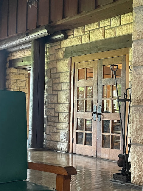 color photo of limestone and log beams and supports inside Pere Marquette lodge Grafton Illinois