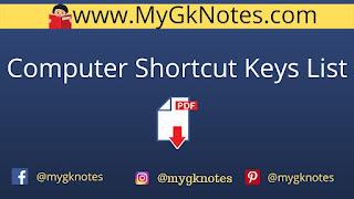 Computer Shortcut Keys List PDF Download