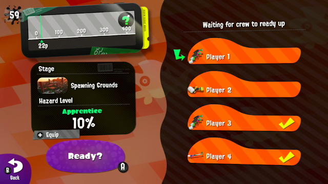 Splatoon 2 Salmon Run lobby menu players ready