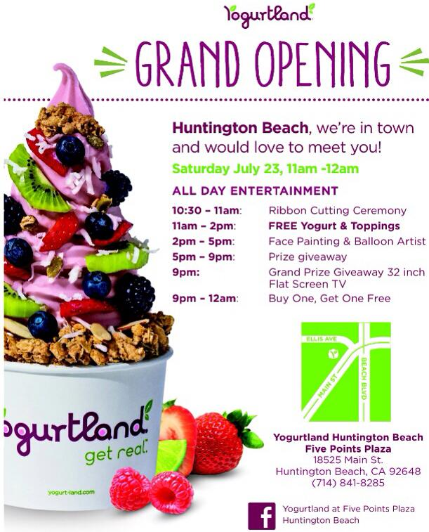 FREE YOGURTLAND AT NEW HUNTINGTON BEACH LOCATION ON JULY 23!
