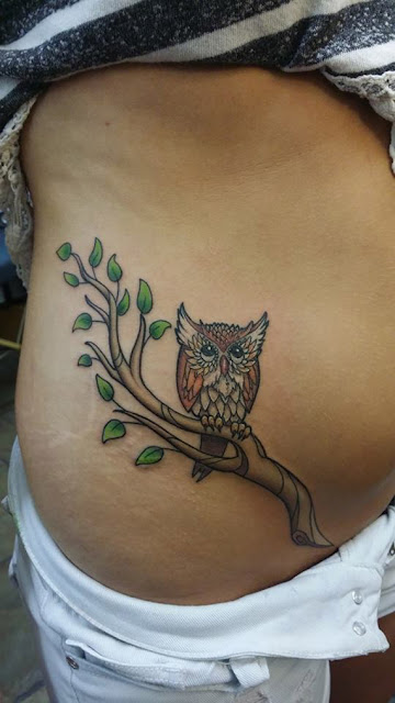 Lovely Stomach Owl Tattoos