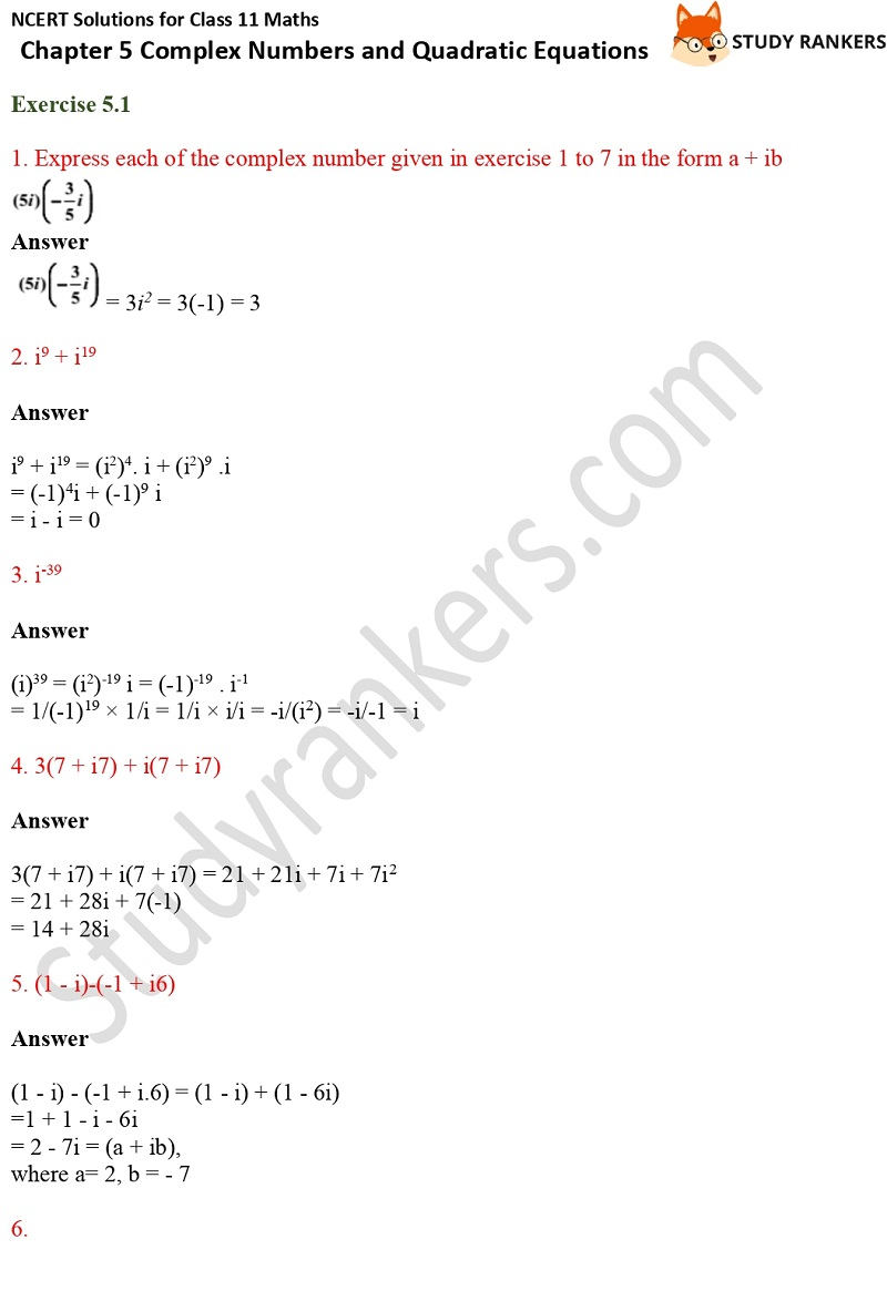 NCERT Solutions for Class 11 Maths Chapter 5 Complex Numbers and Quadratic Equations 1