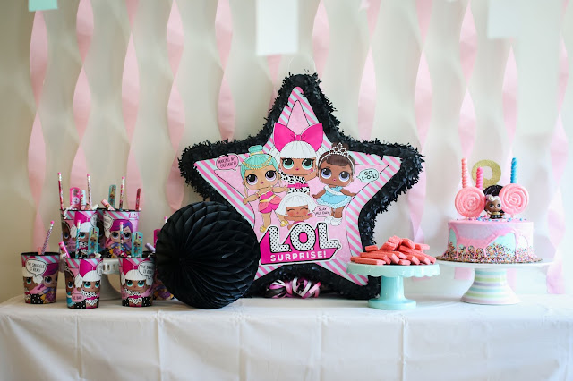 Snacks and favors at an LOL Doll Birthday Party