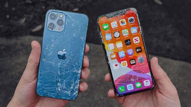 مقارنة السقوط من الاعلى بين  iPhone 12 و 12 Pro