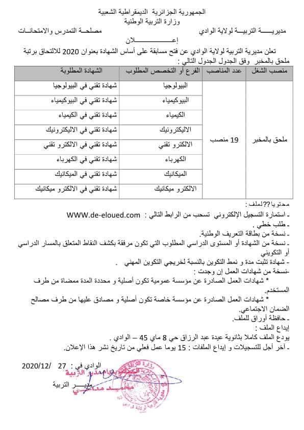 اعلان توظيف بمديرية التربية لولاية الوادي 29 ديسمبر 2020
