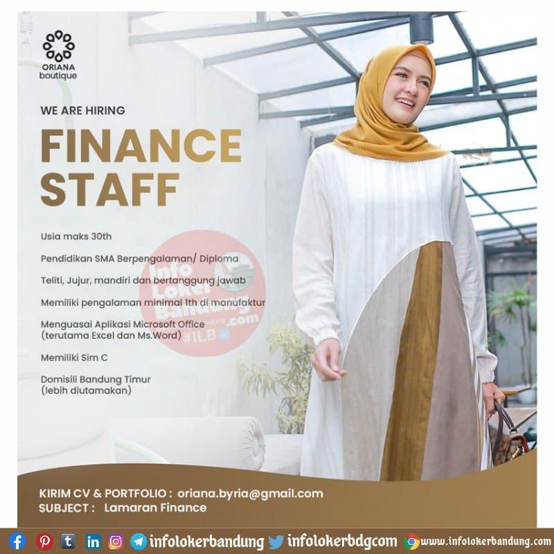 Lowongan Kerja Finance Staff & Graphic Designer Oriana Boutique Bandung Juni 2021