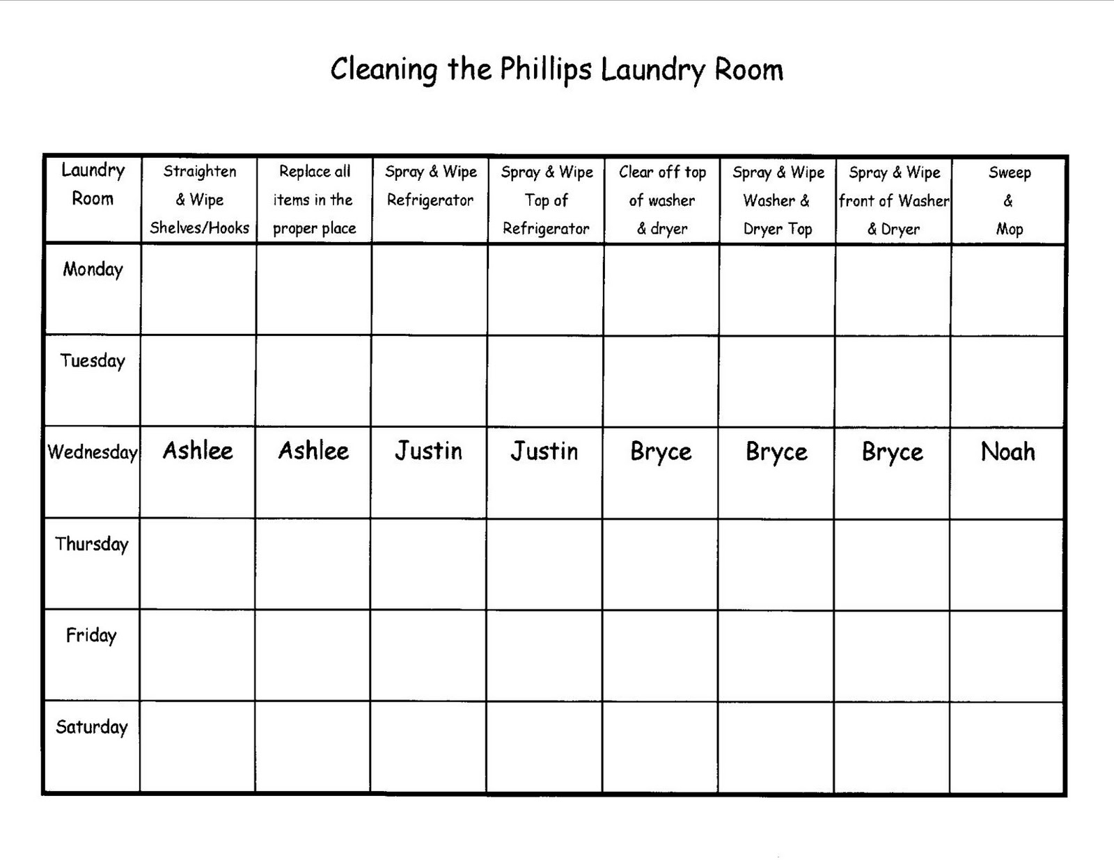 Blessed And Re Blessed Phillips Family Cleaning Chore
