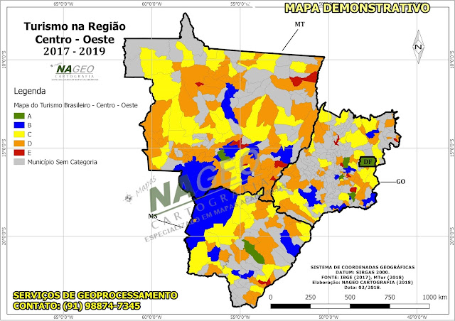 Mapa do Turismo Brasileiro - Reião Centro - Oeste NAGEO Cartografia (2018).