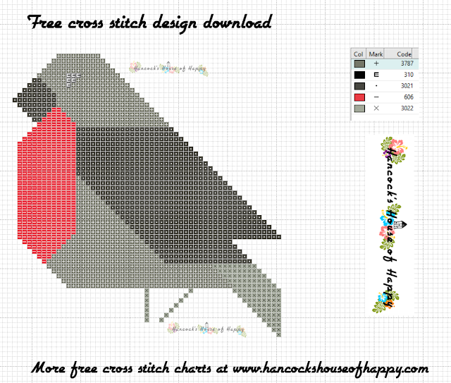 Free Beginner Cross Stitch Design to Download: Geometric Robin
