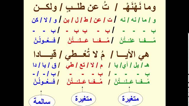شرح درس البحر الوافر لغة عربية