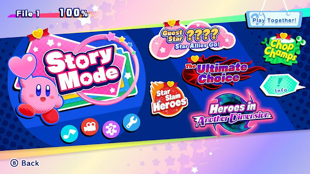 Kirby Star Allies version 4.0.0 wave 3 update game selection menu modes Nintendo Switch Heroes in Another Dimension 100% completion
