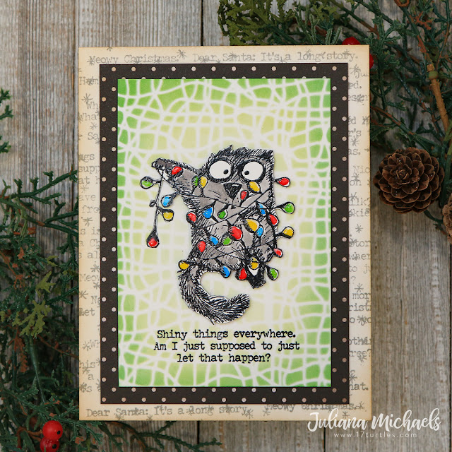 Shiny Things Snarky Cats Christmas Card by Juliana Michaels featuring Tim Holtz Stamptember® 2020