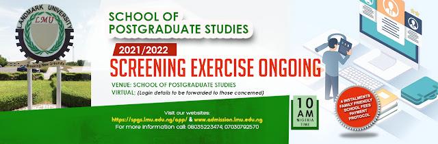 Landmark University Postgraduate Admission Form 2021/2022