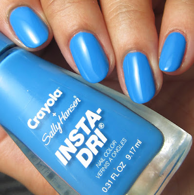 swatches and review of Sally Hansen + Crayola Cerulean nail polish