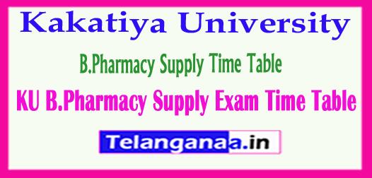 Kakatiya University B.Pharmacy Supply Exam Time Table 2018