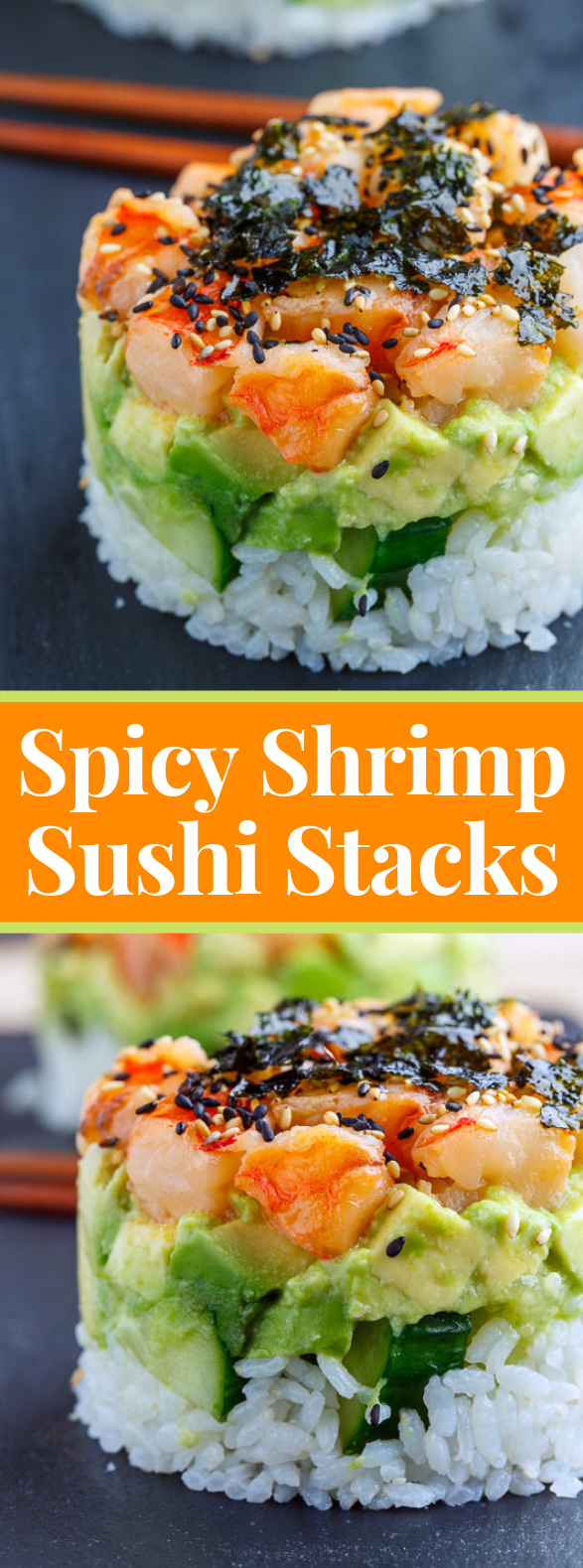 Spicy Shrimp Sushi Stacks #lowcarb #glutenfree