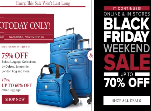 Hudson's Bay Black Friday Weekend Sale + 75% Off Luggage Sets