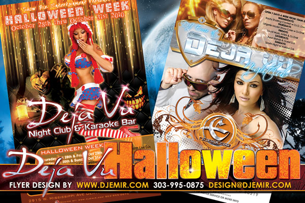 Deja Vu Nightclub Halloween Flyer Design