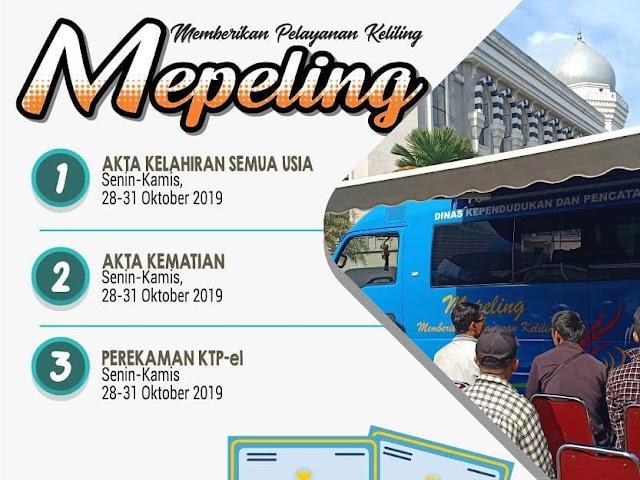 Jadwal dan Lokasi Mepeling Disdukcapil Kota Bandung 28 - 31 Oktober 2019
