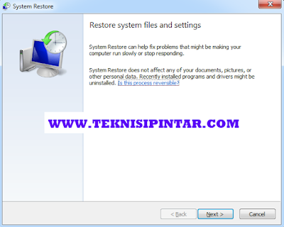 Cara Menggunakan System Resotore Windows 7