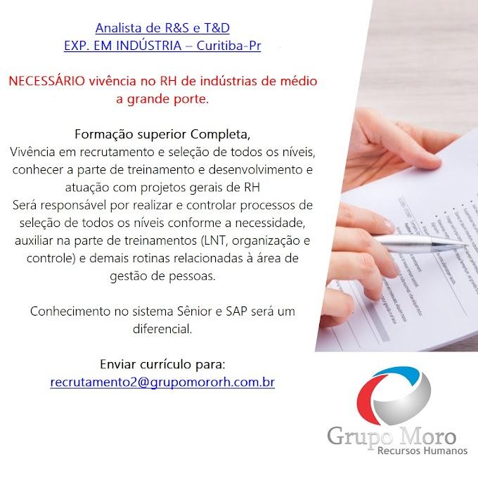 Analista de R&S E T&D, Curitiba, PR