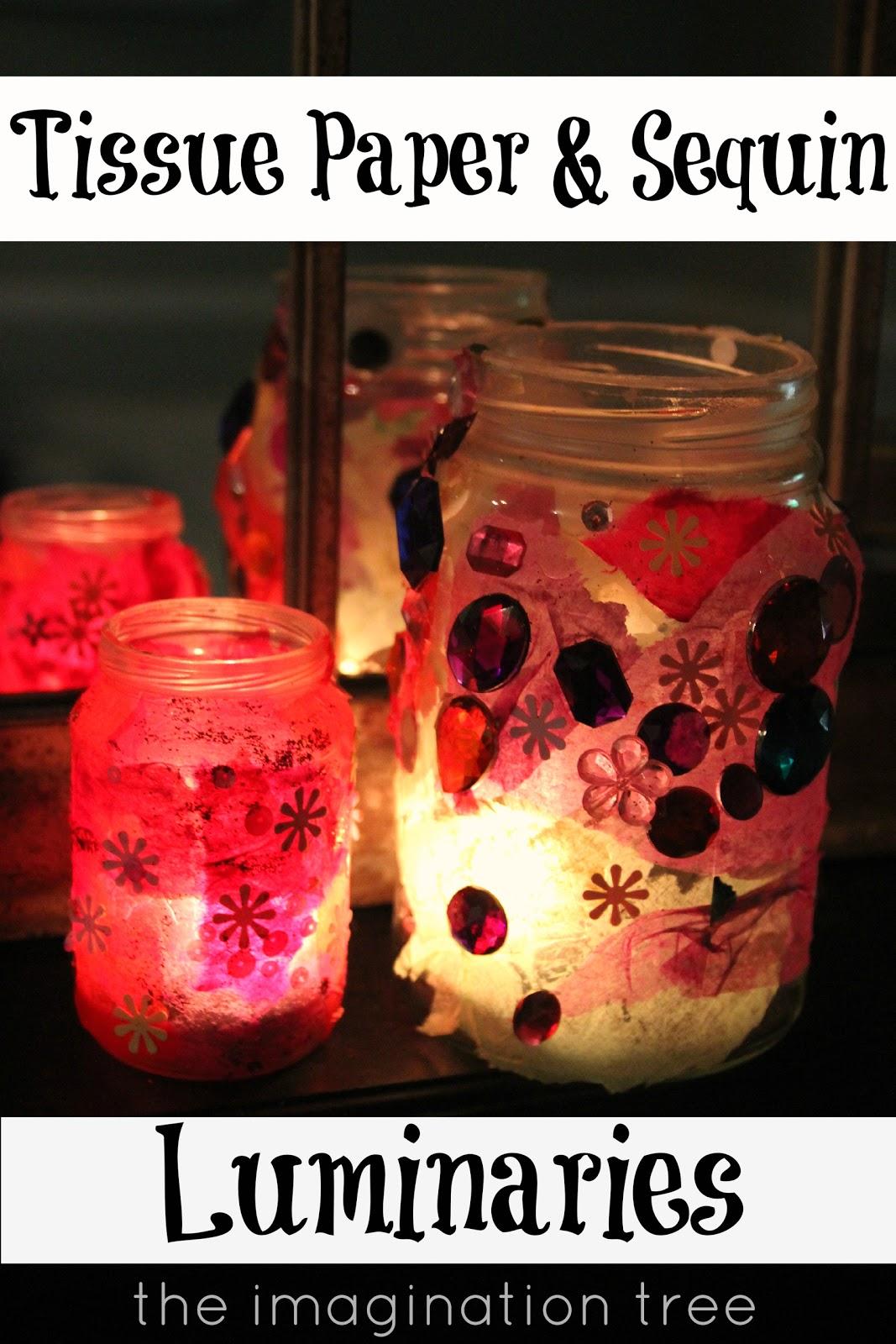 Jam Jar and Tissue Paper Luminaries - The Imagination Tree