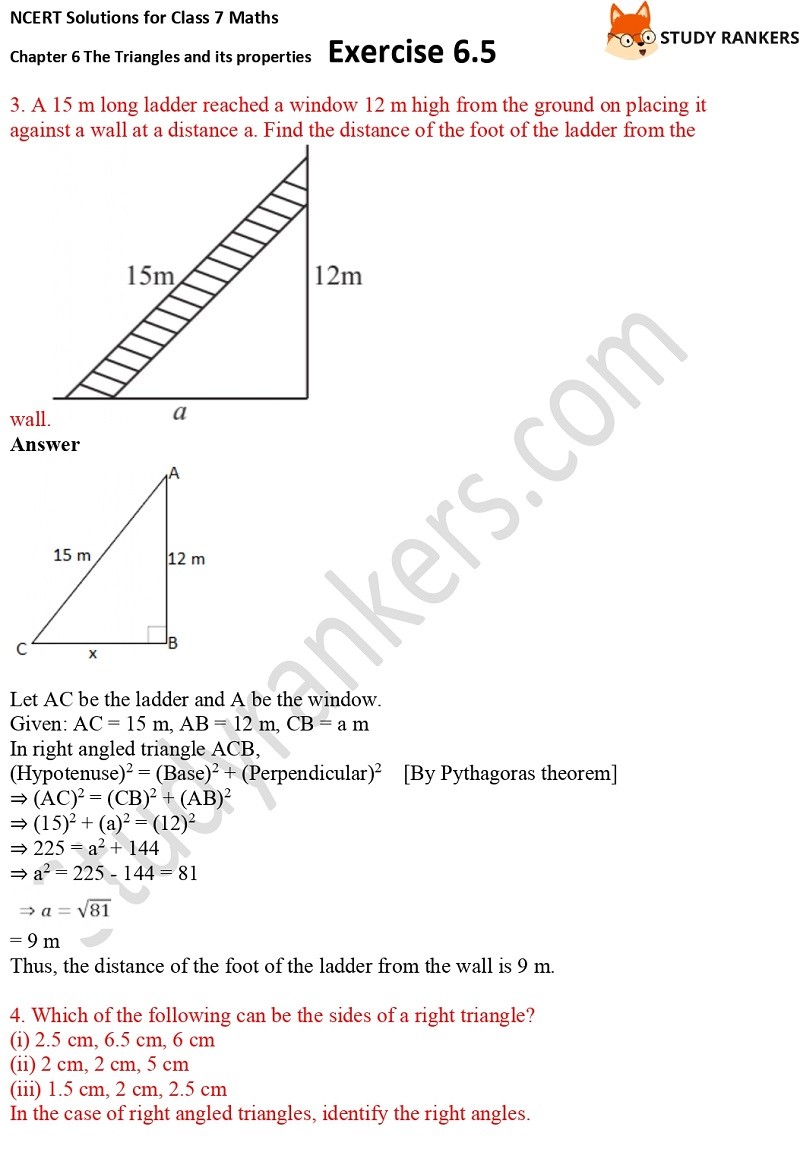 NCERT Solutions for Class 7 Maths Ch 6 The Triangles and its properties Exercise 6.5 2