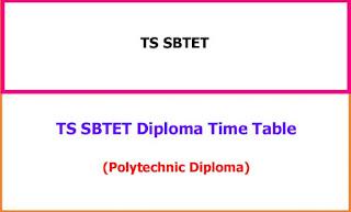 TS SBTET Diploma Time Table