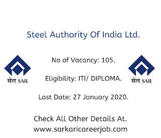 SAIL Requirements 2020 | 105 Technician Post Latest Government Job Vacancies.