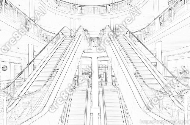 エスカレーター_線画5