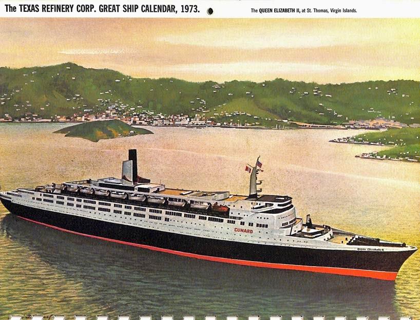 John S Island Great Ship Calendar From 1973 June July