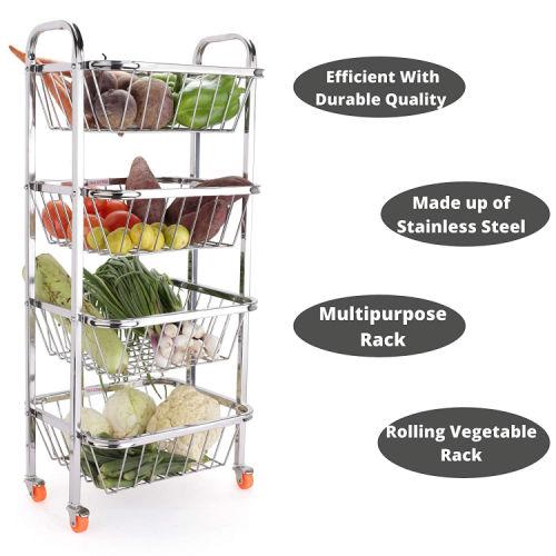 LiMETRO STEEL Stainless Steel 4 Layer Fruit Vegetable Trolley