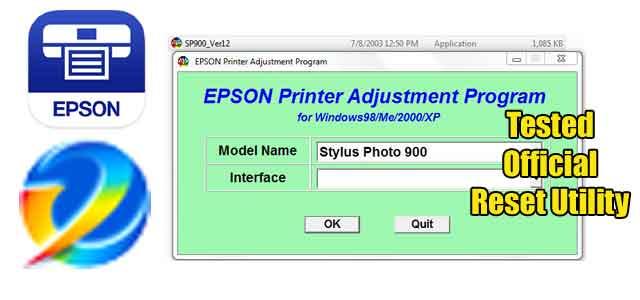Epson Stylus Photo 900 Adjustment program (Reset Utility) Free Download