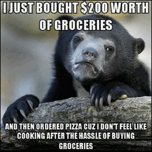I just bought $200 worth of groceries and then ordered pizza cuz I didn't feel like cooking after the hassle of buying groceries. #funny #relatable #meme #life #bear