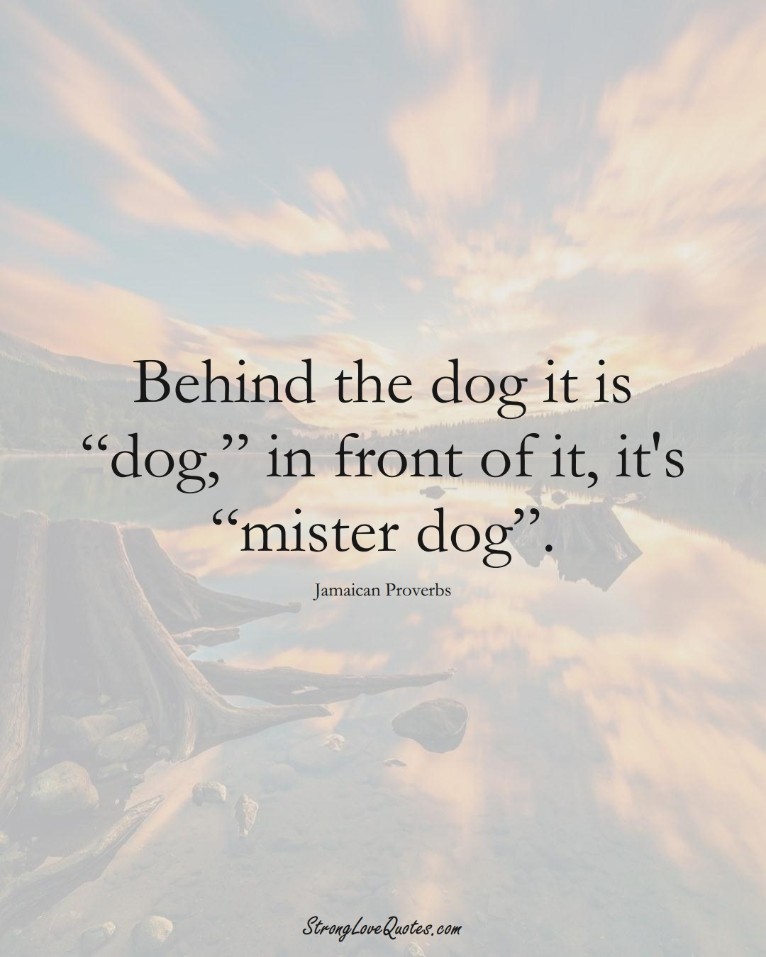 """Behind the dog it is """"dog,"""" in front of it, it's """"mister dog"""". (Jamaican Sayings);  #CaribbeanSayings"""