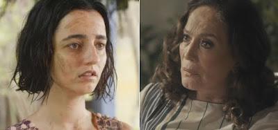 Justina (Julia Stockler) e Emília (Susana Vieira) na novela das seis: ilustração dá pista sobre crime do passado