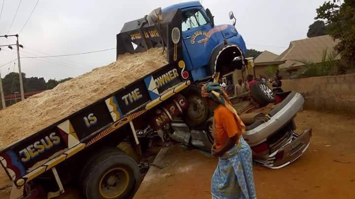 Photos: No life lost as sand-carrying truck crushes parked cars, motocycle