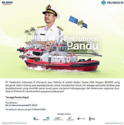 Rekrutmen Pandu PT Pelabuhan Indonesia III (Persero)