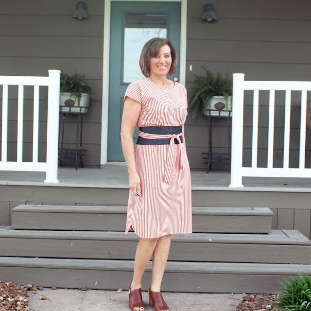 Liesl & Co Terrace Dress made with Red and White ticking with changes to the hem
