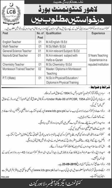 Lahore Cantonment Board LCB Jobs 2019 | New Govtt Teaching jobs