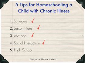 5 Tips for Homeschooling a Child with Chronic Illness - lessons learned through trial and error.