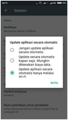 update aplikasi Android hanya menggunakan wifi