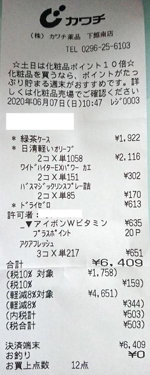 カワチ薬品 下館南店 2020/6/7 のレシート