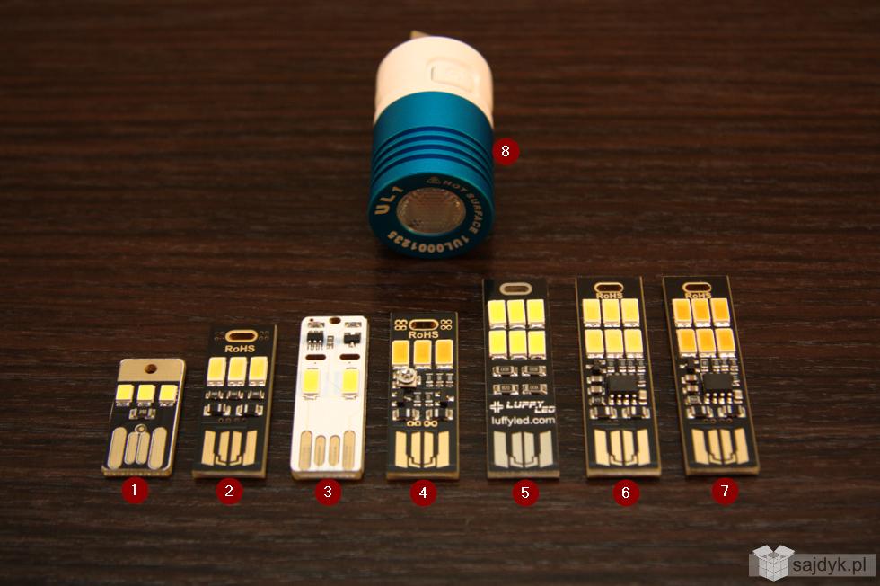 Różne warianty lampek USB