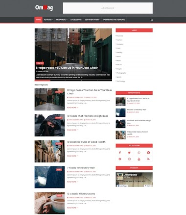 OmMag blogger template free blogger template  without copyright footer credit