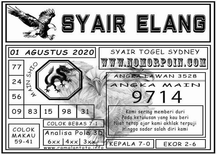 Kode syair Sydney Sabtu 1 Agustus 2020 79