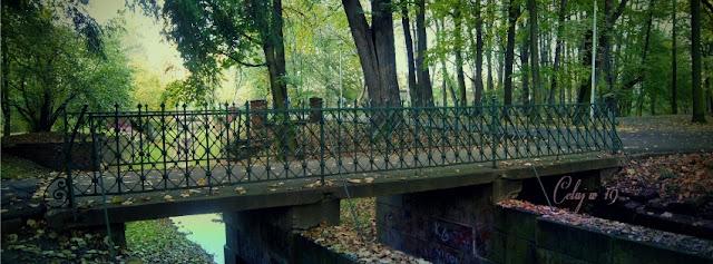 park miejski, jesień, spacer, most