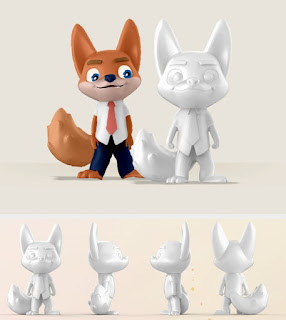 XP-Pen's 3D Model Mascot turnarounds.